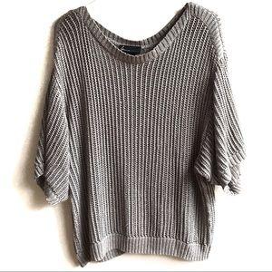Lane Bryant Gray Metallic Open Knit Sweater 18/20